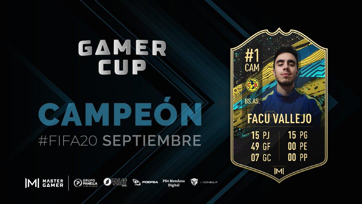 #FIFA20 🎮  @FacuBostero00 se consagró como flamante Campeón de la #GamerCup 🏆 de Septiembre! 💥  Con el #América de México, ganó los 15 partidos que jugó y se aseguró que la copa se quede en Buenos Aires.  Mirá lo que fueron sus números! 🤯 Felicitaciones, Campeón 🏆👏🔝 https://t.co/1X2nX84ZKU