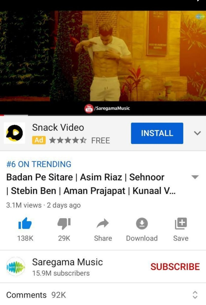 #BadanPeSitare complete 3.1m views on YouTube with 138k likes & trending at number 6  Keep streaming Link :https://t.co/JWKfSpejb2  @imrealasim @saregamaglobal #AsimRiaz  #AsimSquad https://t.co/M8eFQmEwnO