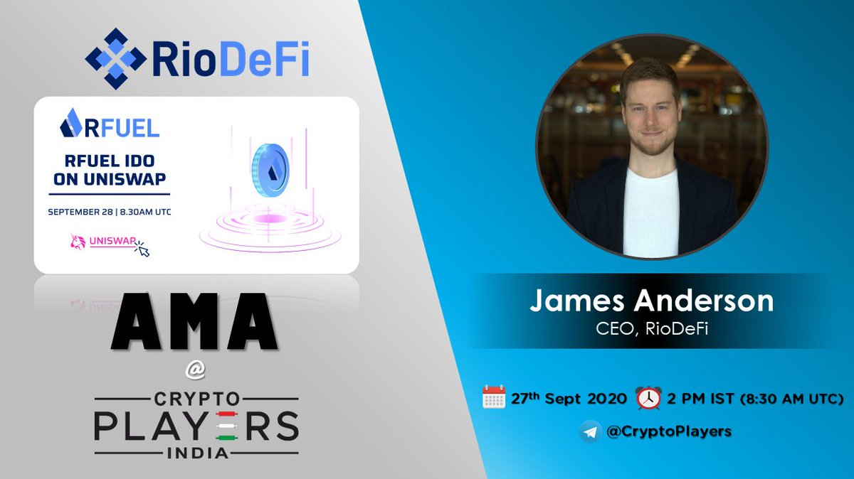 CryptoPlayers will host AMA with RioDeFi, today at 2 PM IST (8:30 AM UTC)  Date: 27-09-2020 Venue: https://t.co/s2CQSd9GH3 Rewards: $200 USDT  RFUEL is an upcoming IDO on Uniswap.  #AMA #Giveaway #Uniswap #RioDeFI #RFUEL #DeFi https://t.co/dwaGMxhOu0