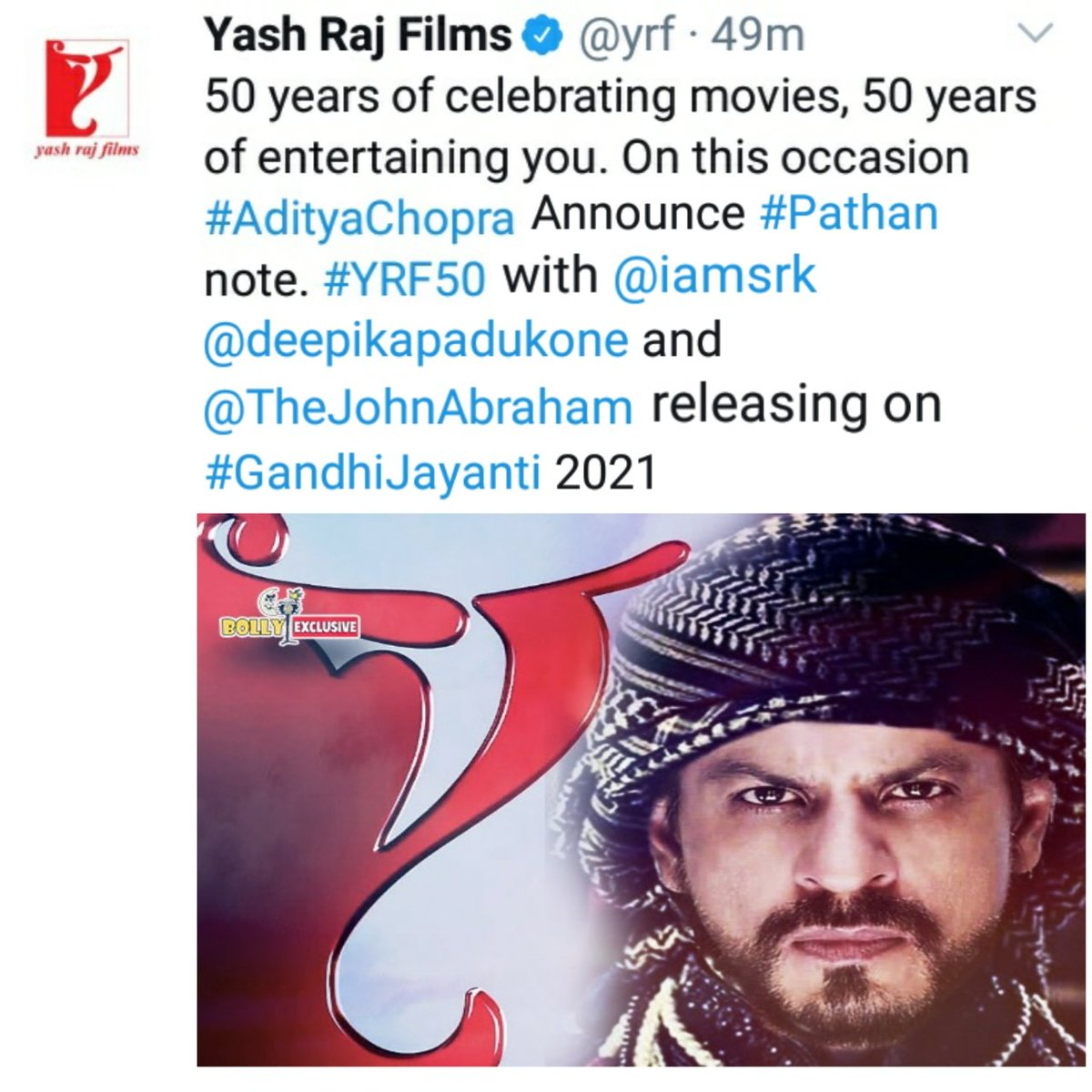#YRF Announce His next film with mega Star @iamsrk @TheJohnAbraham And @deepikapadukone Full packed with Action Shoot in Different territory Releasing on #GandhiJayanti #YRF50 #YRFProject50 #Pathan #ShahRukhKhan https://t.co/ce9sgBsl9d