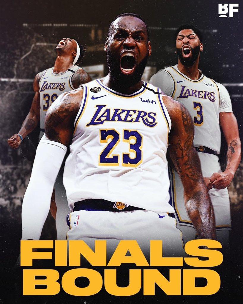 Por primera vez en 10 años, Lakers es campeón de la Conferencia Oeste y estará en la Finales de la NBA. 🎉✅🏀  LeBron sumó un triple-doble más en su carrera con: 38 pts, 16 reb y 10 así. 🔥👑  📸: @Bballforeverfb   #nba #nbaplayoffs #LakeShow #champions #VivimosElJuego https://t.co/99UKZknLGu