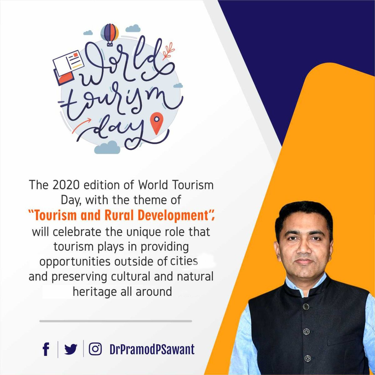 "The 2020 edition of World Tourism Day, with the theme of ""Tourism and Rural Development"", will celebrate the unique role that tourism plays in providing opportunities outside of cities and preserving cultural and natural heritage all around.   Greetings on #WorldTourismDay. https://t.co/VXc0nWq0Nu"
