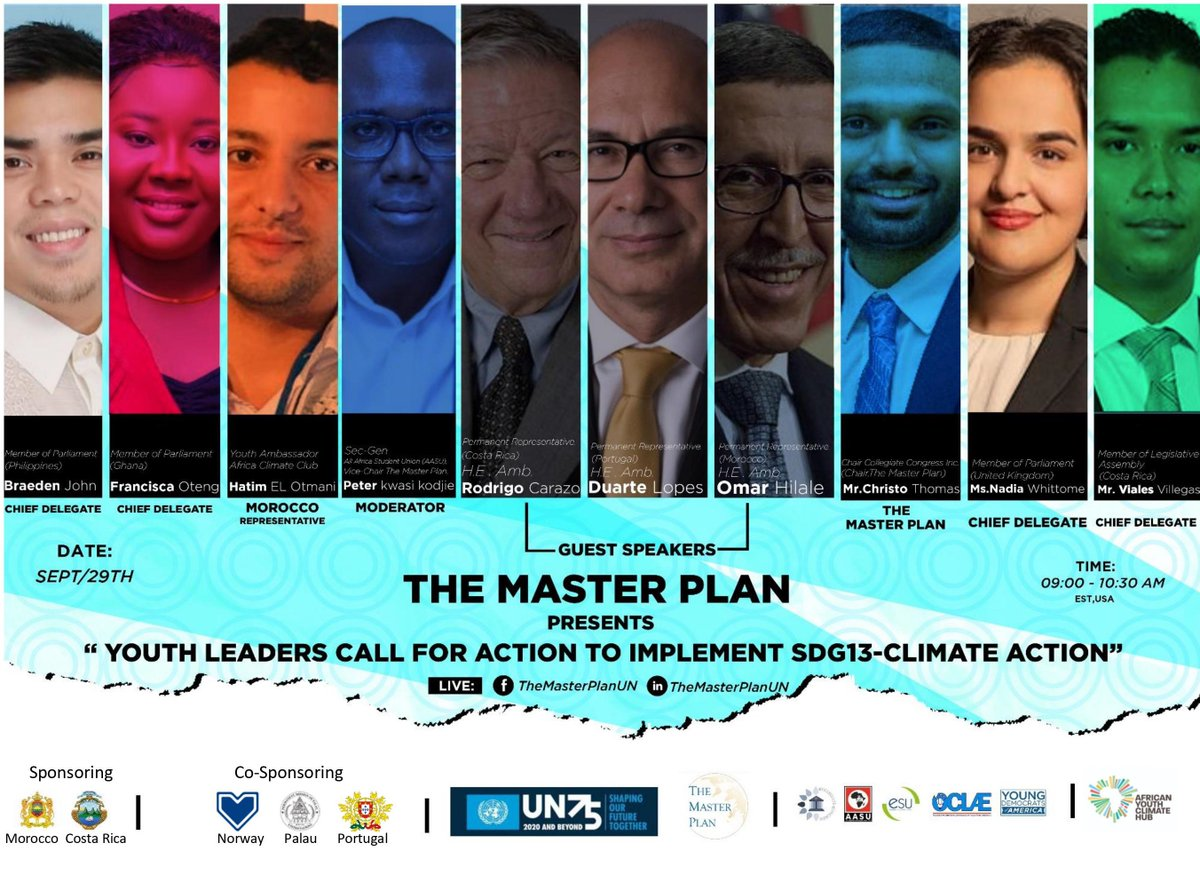 As the 75th #UNGA continues, The Master Plan #CallToAction on #SDG13 listen to our Chief Delegate Hon'ble #CostaRica @GustavoVialesCR #September 29th 09.00 am EST/USA with Ambassadors of @Morocco_UN @CostaRicaONU @ONUPortugal  https://t.co/S3kWlNpWWj https://t.co/TU2In0WGkD