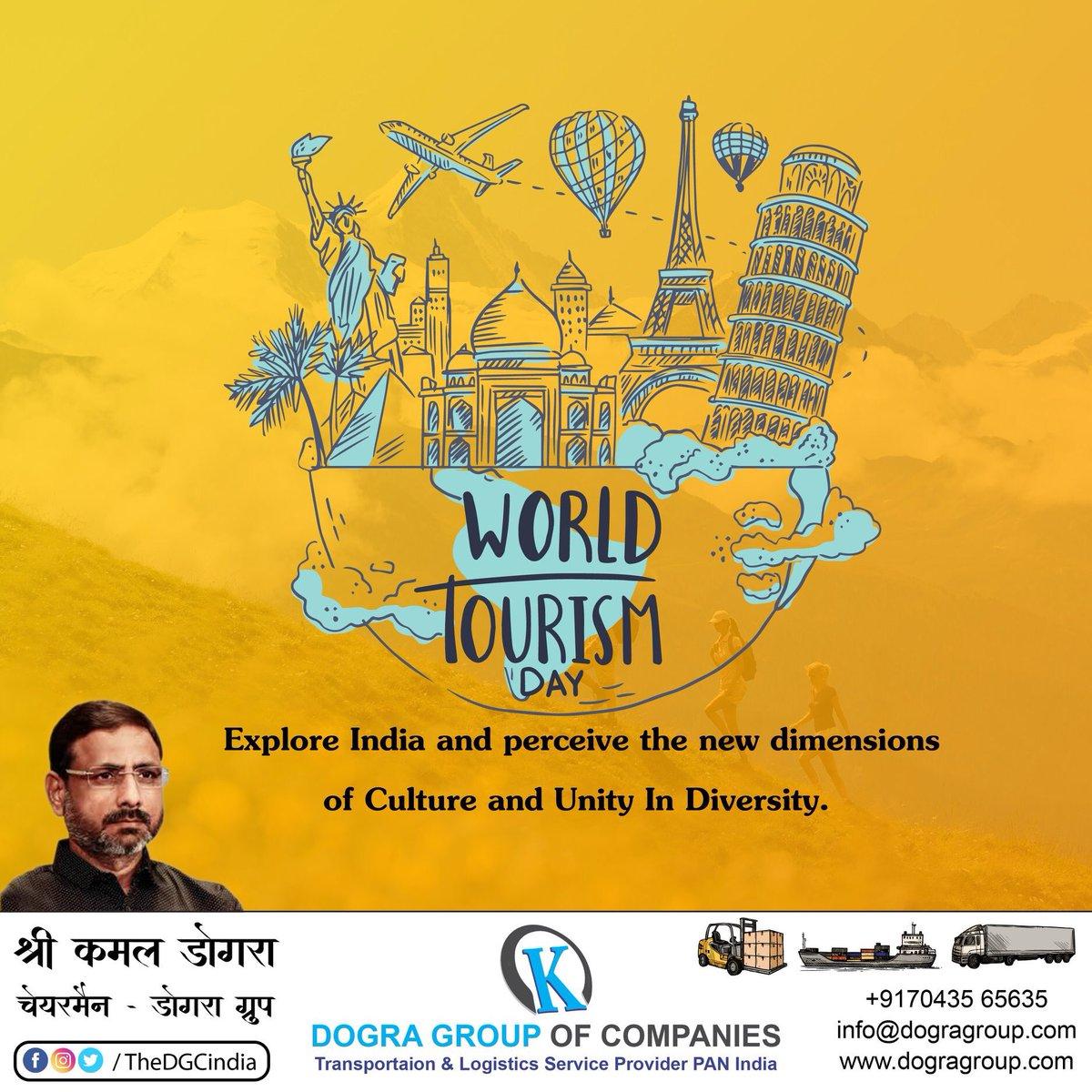 World Tourism Day     India is a land of diverse cultural, natural beauty, rich history and millennium old heritage.    #DGC #DograGroupOfCompanies #DograGroup #Transportation #LogisticsService #PANIndia  #KTPL #KamalTranslinkPvtLtd #KamalDogra #WorldTourismDay  #TourismDay https://t.co/Y3C64i2joz