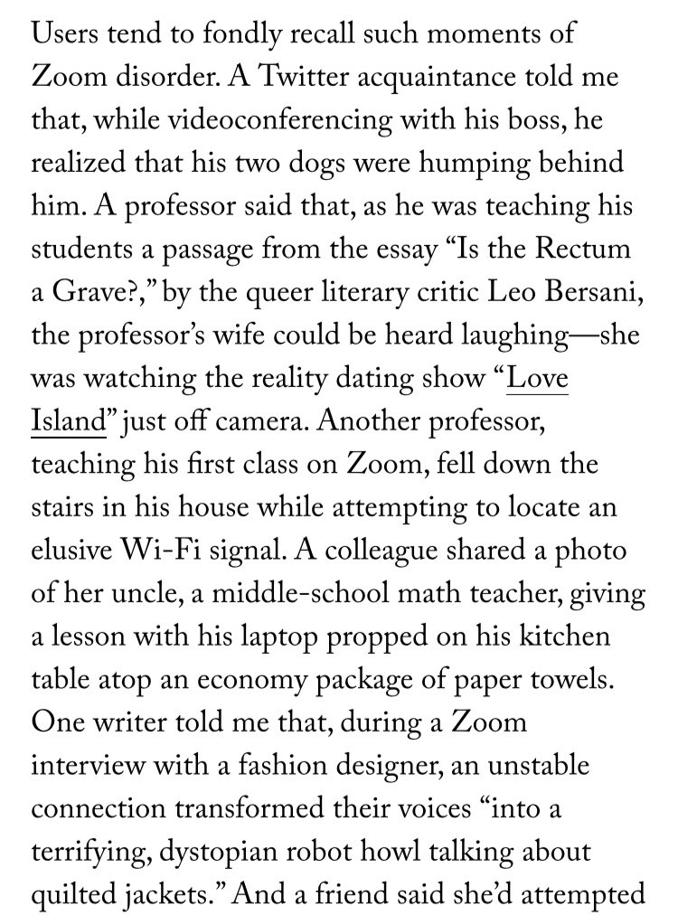 Some chaotic Zoom moments narrated by ⁦⁦@frynaomifry⁩ in ⁦@NewYorker⁩ Do you have any such stories to share? #zoomcall https://t.co/RbuoaA3wWz