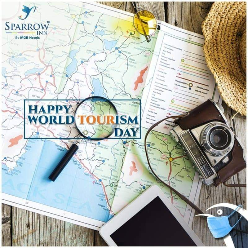 Here's wishing all travelers a very #HappyWorldTourismDay.  #SparrowInnByMGB #Hotels #AlwarHotels #WorldTourismDay #TravelSafely https://t.co/Ifw4aLddRM