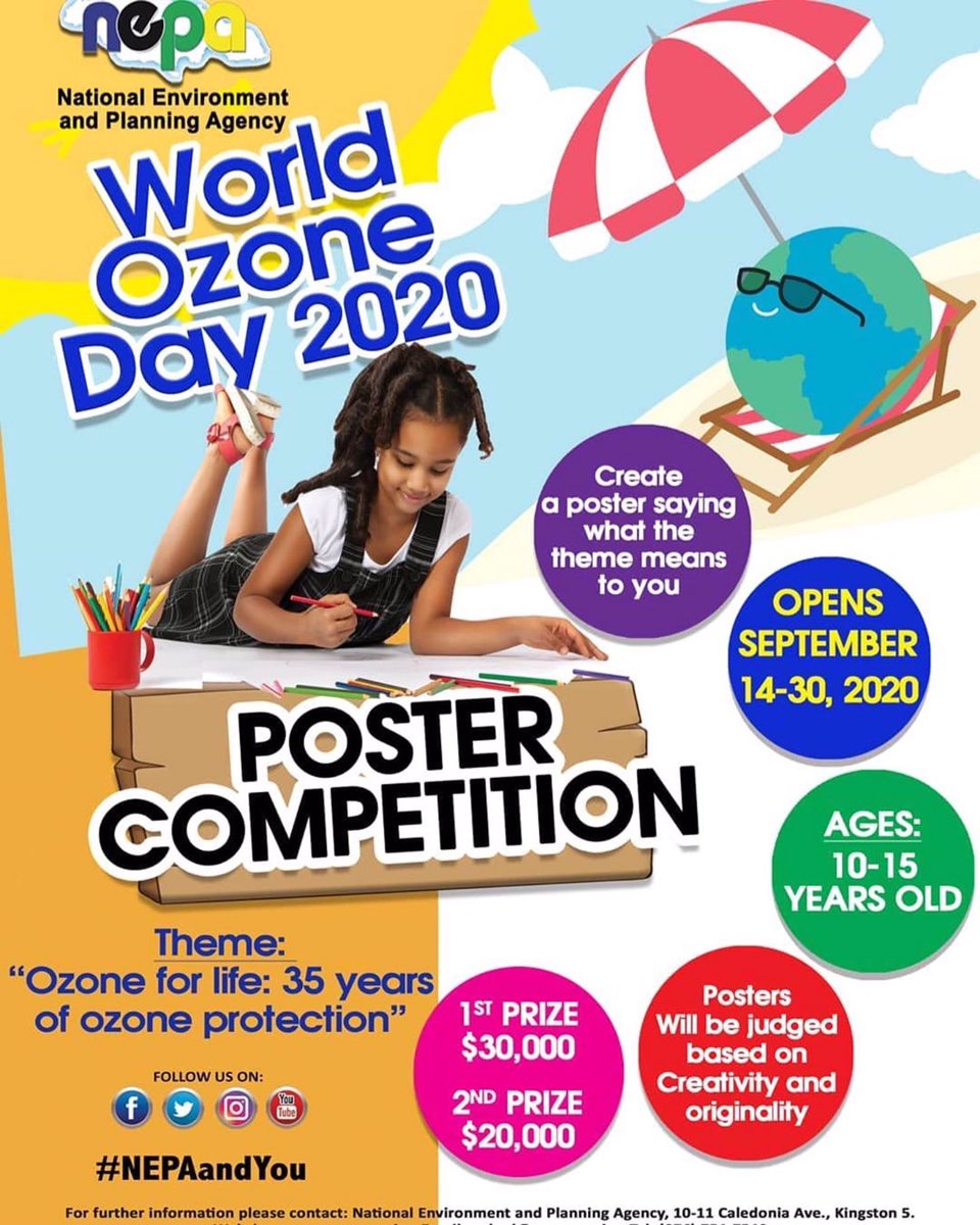 Time to get creative. Enter our World Ozone Day poster competition and show us what this year's #WorldOzoneDay theme; ' Ozone for life: 35 years of ozone protection' means to you. #WOD #ozonelayer. Contest runs from Sept 14- 30.scsc  Reposted from @nepajm https://t.co/qH3c0dXI1B