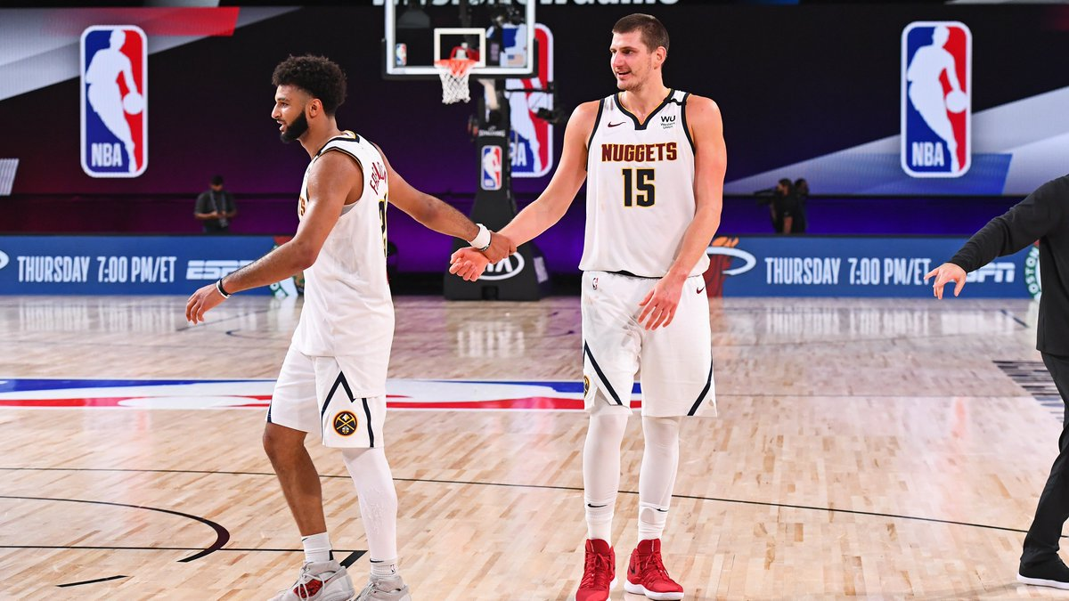 Jamal Murray and Nikola Jokic now have the 1st and 2nd highest scoring single postseasons in @Nuggets franchise history.  Jamal Murray (2020) – 504 PTS Nikola Jokic (2020) – 464 PTS Carmelo Anthony (2009) – 435 PTS Alex English (1985) – 423 PTS https://t.co/0bATnpzB2r