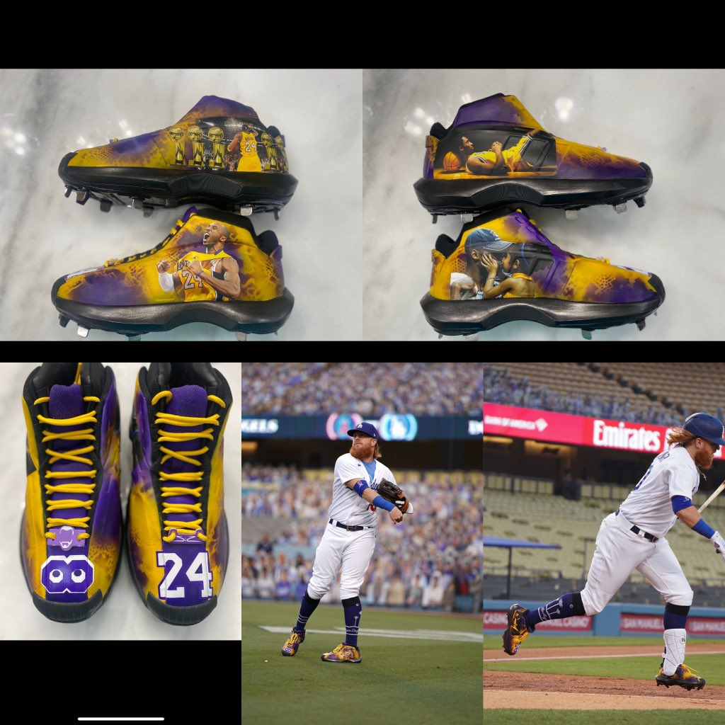 Some very special cleats tonight! So much respect and love to one of the most beloved athletes #LA has ever seen. We all miss you #KobeBryant #8 #24 #RIP #MambaForever #Gigi @Lakers @Dodgers   📸  @JonSooHooPics https://t.co/QoPPUAX4xB