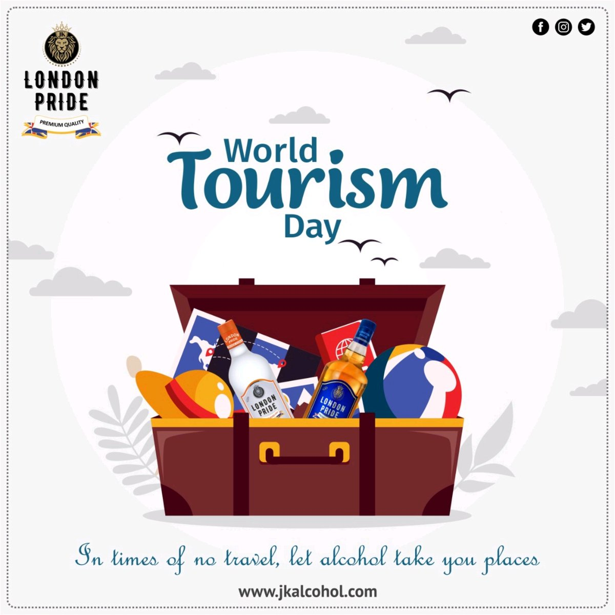 Even though this pandemic has halted travel but you don't need to go the distance to feel great because you have us! Happy World tourism day!  #WorldTourismDay #TourismDay #Tourism #Travel #Travelling #Worldtour #jkalcohol #Jkgroup #JkEnterprises #londonpride #Londonreserve https://t.co/MBAXG6UIzt