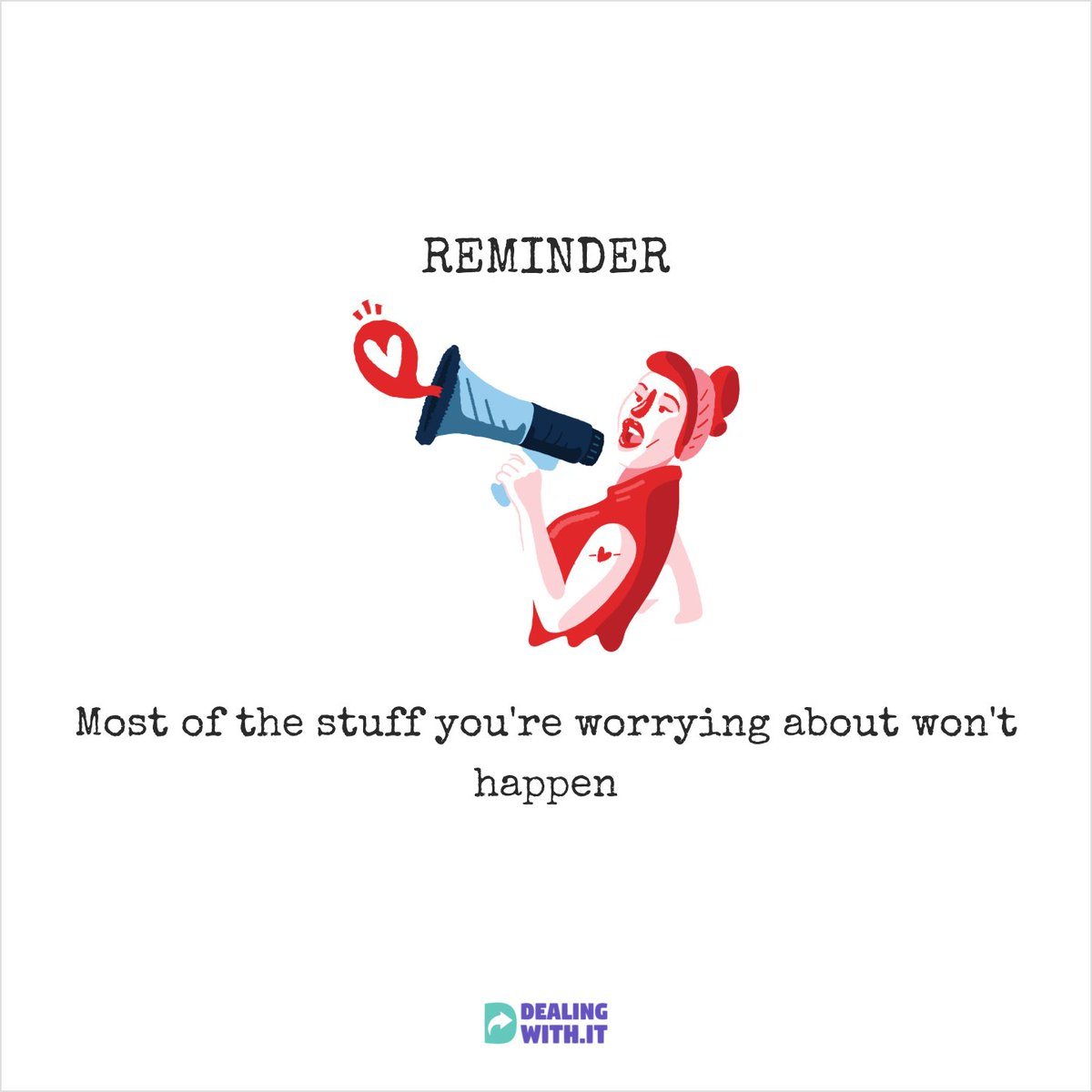 Reminder: most of the stuff you worrying about won't happen. #mentalhealth #anxiety #dealingwithit #wellness #health #wellbeing #positive #qoutes #motivational https://t.co/9W0W3LKqdj