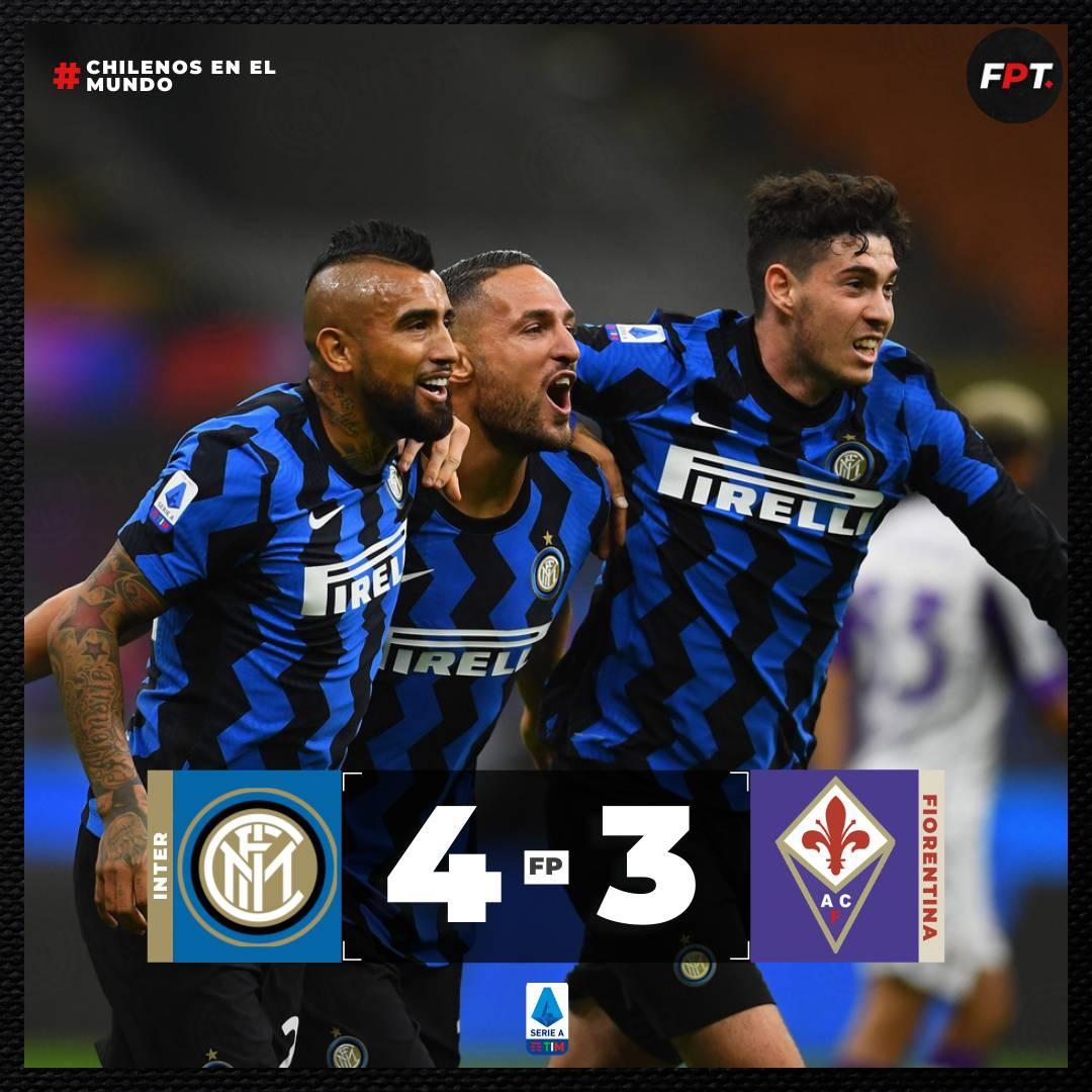 ¡REMONTADA! 🤩  El Inter de Milán venció sobre la hora a la Fiorentina por 4-3 con #Alexis y #Vidal 🇨🇱 jugando.  El King 👑 entró al minuto 74 y jugó sus primeros minutos en su nuevo equipo, mientras que Alexis entró al 78' y fue fundamental para la remontada del #Inter. https://t.co/M1fo4RXiue