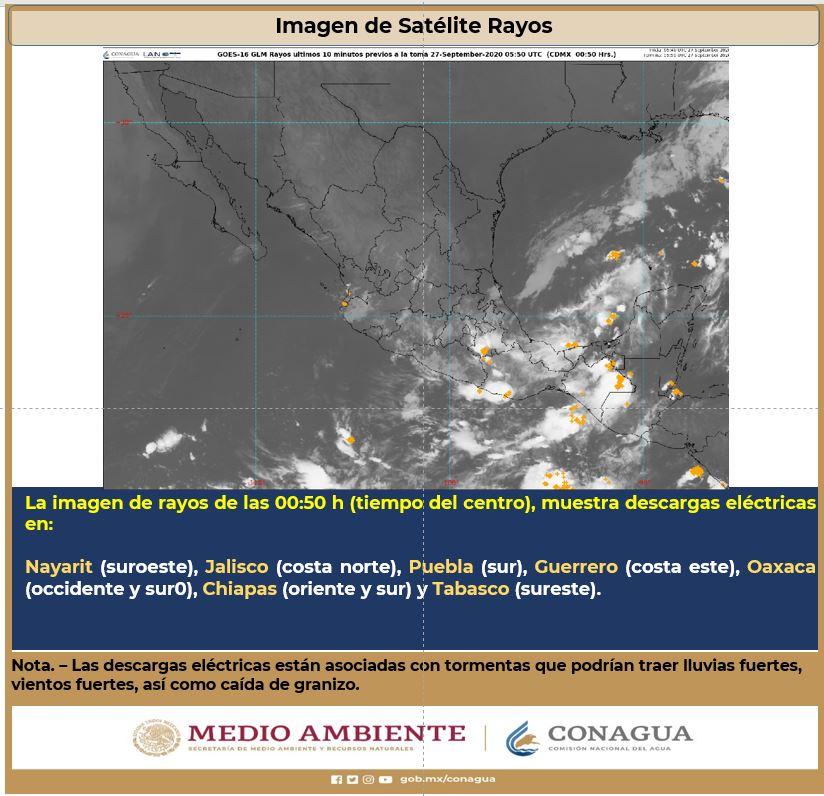 #DescargasEléctricas se prevén en #Nayarit, #Jalisco, #Puebla, #Guerrero, #Oaxaca, #Chiapas y #Tabasco. https://t.co/DA1fSEsxbR