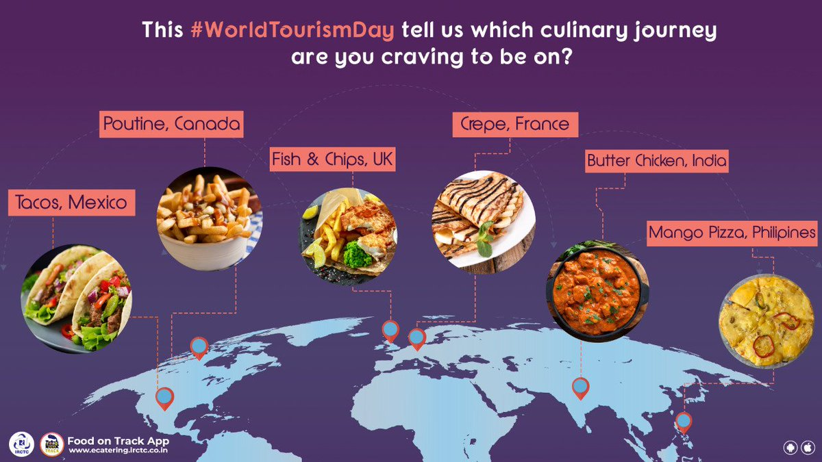 What culinary journey are you embarking upon this #WorldTourismDay? Share in comments #IRCTC #eCatering #Flavours #Cuisines #WorldFlavours #WorldFood #FoodLover #Travel https://t.co/wUtJRMfXcy