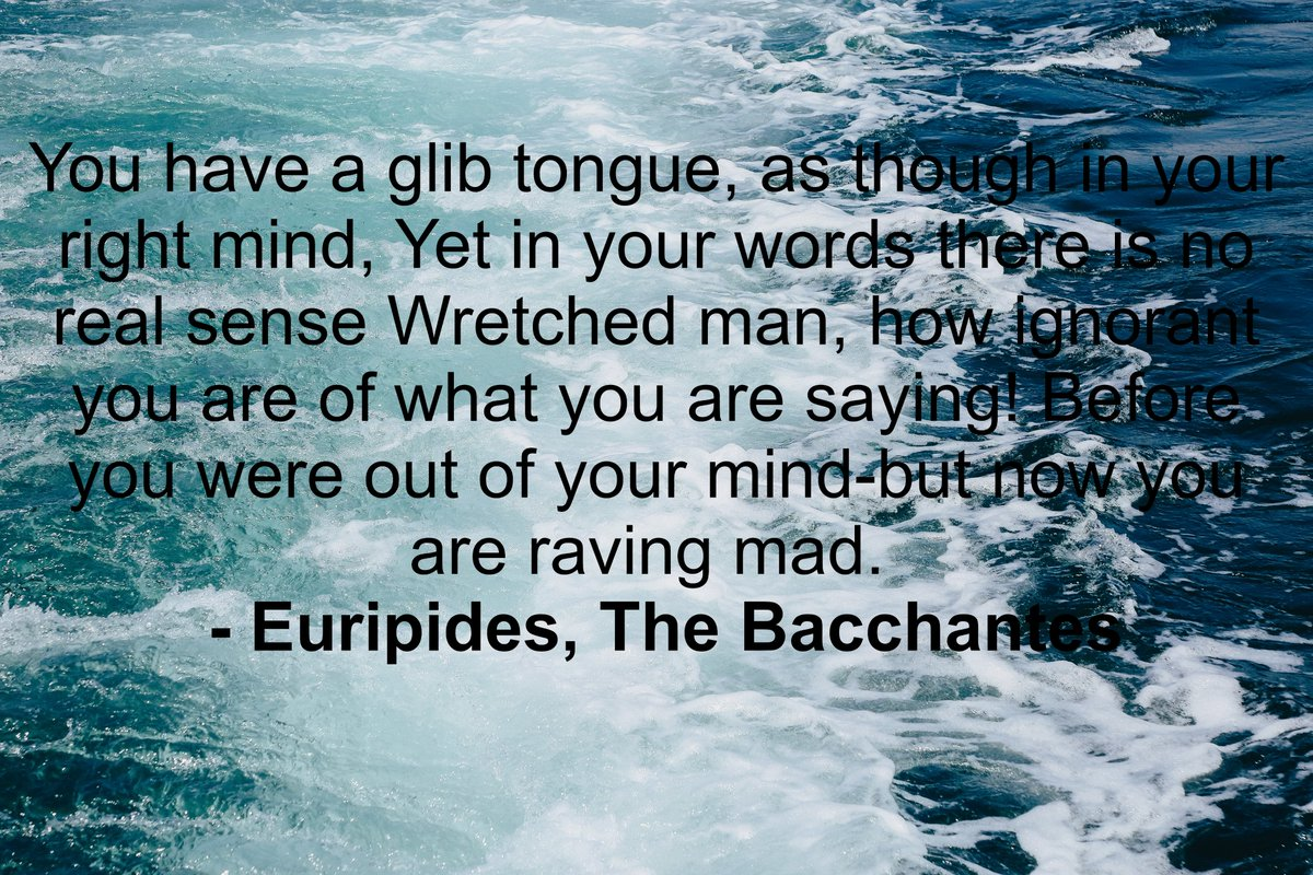 Euripides, The Bacchantes; I am a god, treat me as such, read more here: -  https://t.co/XnyGSBvgzu #selfeducation #reading the #Classics. #amreading #classicaleducation #books #bookish #classicbooks #literature #blogger  #blogging  (This time with the right link) https://t.co/udZi2wWUi8
