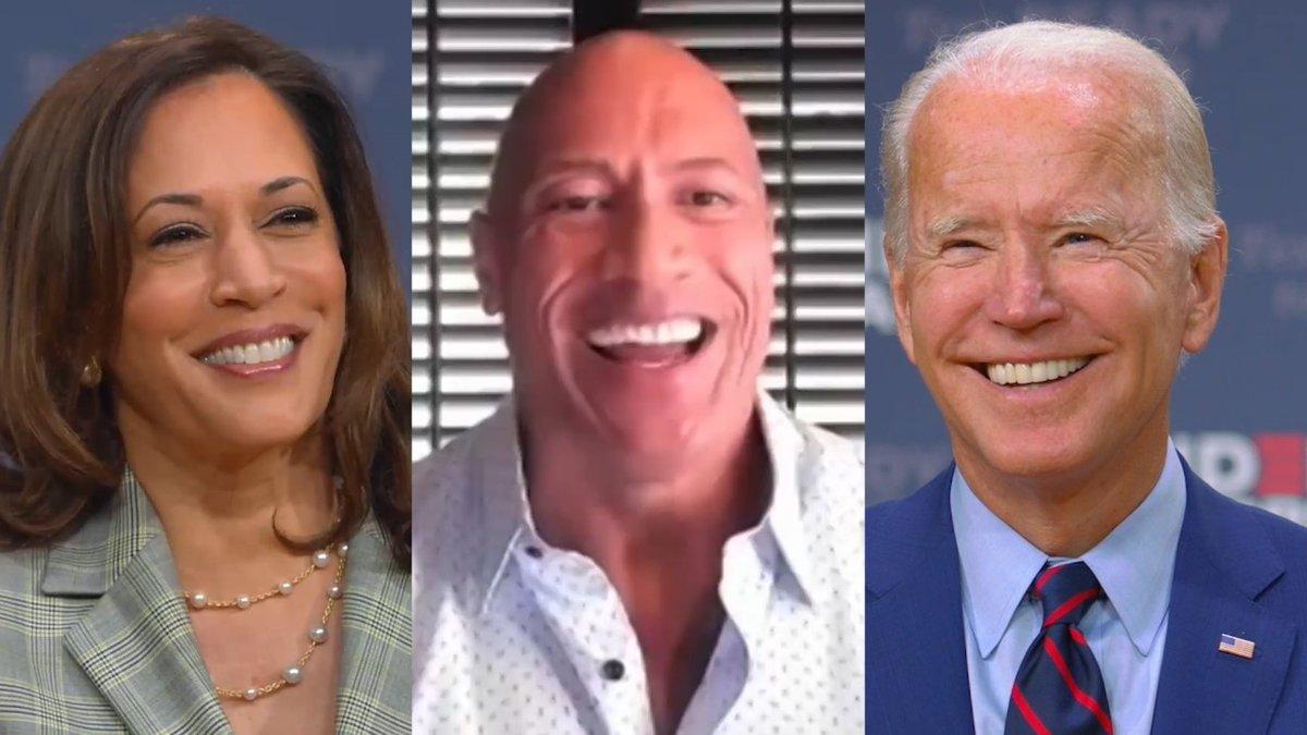 "Dwayne ""The Rock"" Johnson aka Egghead Steroid-Man says vote for his handlers' pick, Slow Joe Biden.   https://t.co/L2cI7CySGq"