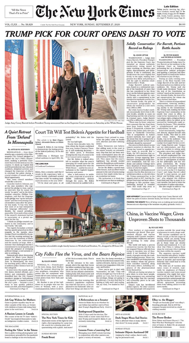 TRUMP PICK FOR COURT OPENS DASH TO VOTE. ※9/26/2020 #Election2020 #TrumpPence2020 #EnoughIsEnough  #Ginsburg #RIPRBG  #America  #FRONTPAGE #TomorrowsPapersToday  #2020年のToday https://t.co/gnw5T3AGdS