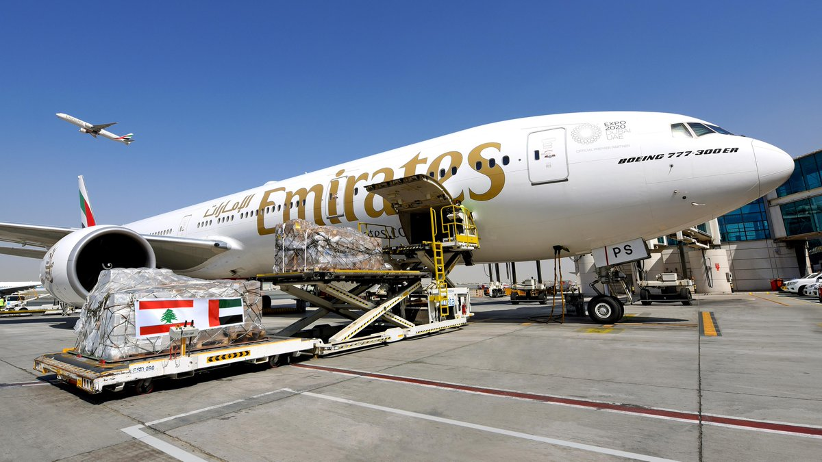 Emirates continues Lebanon relief efforts by carrying 160,000 kilograms of medical supplies and food to Beirut, made possible by over 12,000 donations from 140 countries. https://t.co/trZlnQA6mW   #FlyEmiratesFlyBetter #EmiratesSkyCargo https://t.co/ZN4WHe9vr9