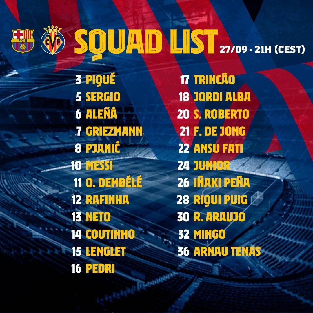 📋 قائمة لاعبي #برشلونة لمباراة فياريال 👀  🔜 @LaLigaArab  ⚽ #BarçaVillarreal https://t.co/lDdWzD4qkg