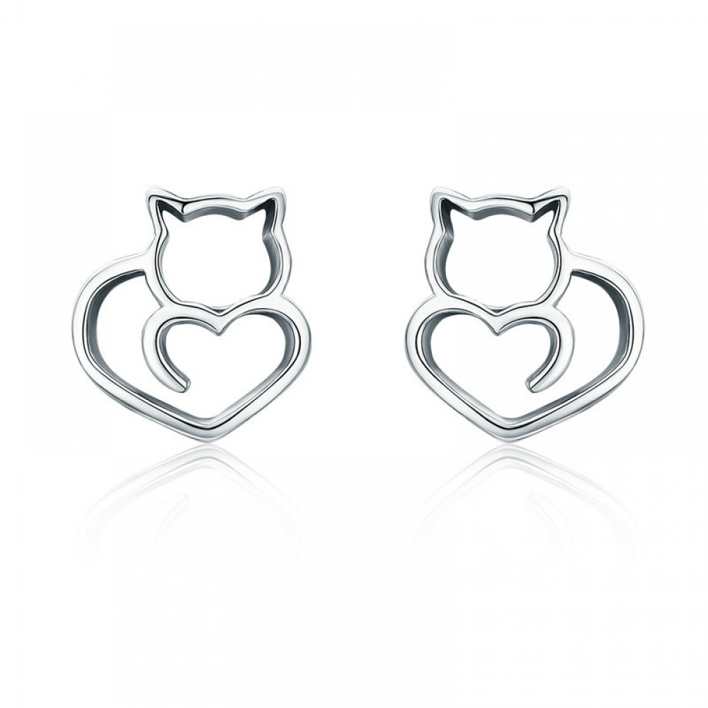 #crystals #cheer 925 Sterling Silver Cat and Heart Shaped Women's Stud Earrings https://t.co/EUud3uqbIn