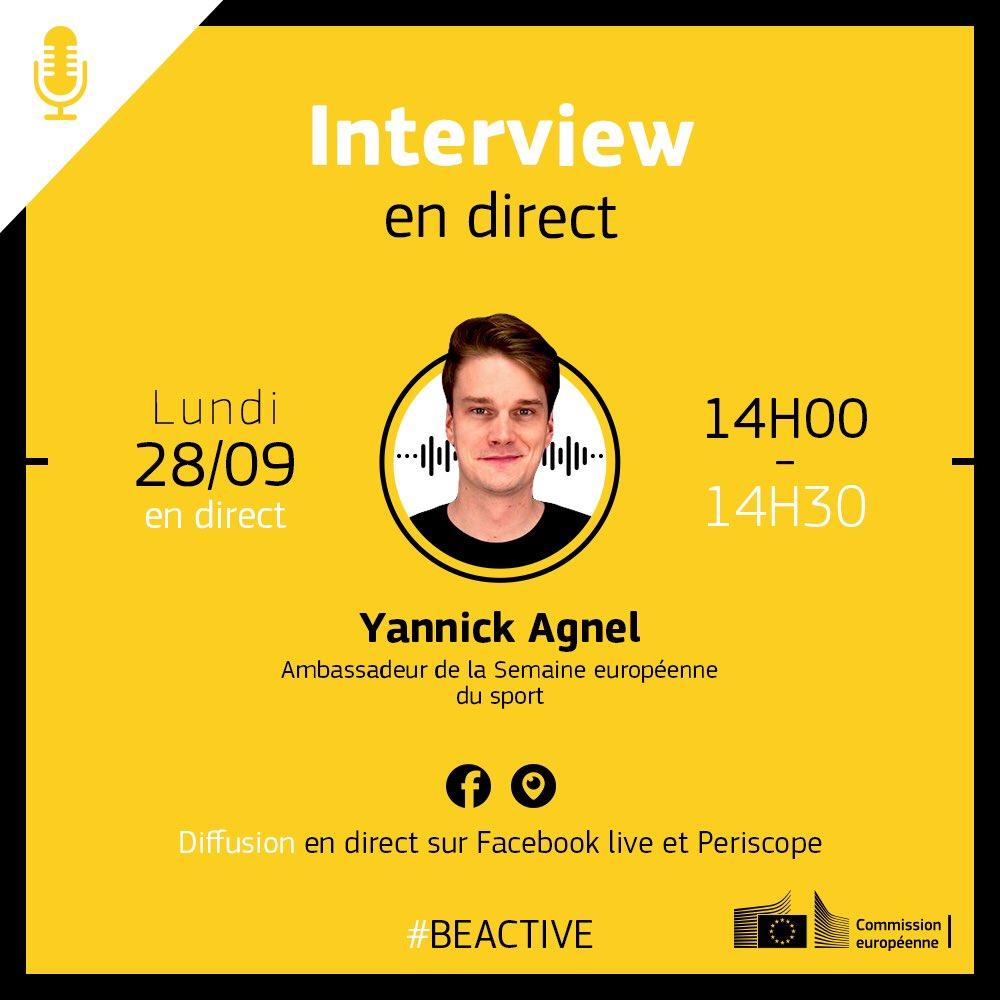 🔴 Interview en direct de @YannickAgnel, demain à 14 h à l'occasion de la semaine européenne du sport 🤩🏊♂️  #BeActive #SentezVousSport https://t.co/twYcnwVIMc