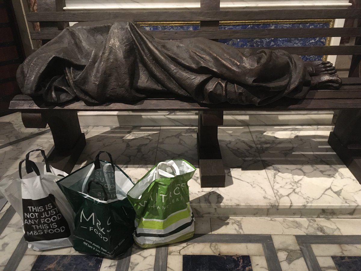Food Bank use in London up 300% in few wks so many thanks for food for #BlessedSacrament #foodbank @King's Cross. pse just non perishable. Is delivered under strict COVID protocol @WestminsterJP  @CaritasWestm  @CTiWestminster  @JesuitsBritain  @ICN_UK  #poverty in #pandemic https://t.co/X6RP7T4iQs