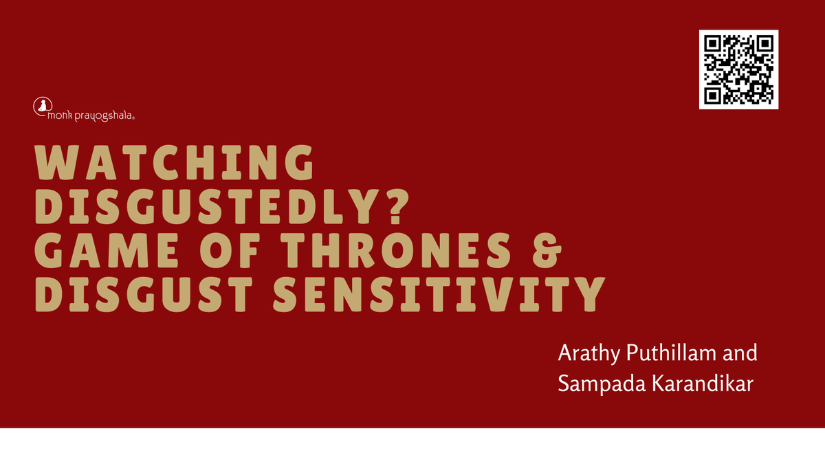 Check out @WallflowerBlack and @sampada_sk's new paper on #GameofThrones and #DisgustSensitivity in @SAGE_Publishing!  https://t.co/fXwoKZEYuP  #publicationalert #psychology #prayogshalaprobes #thinkinIndia https://t.co/XaquyGd84f