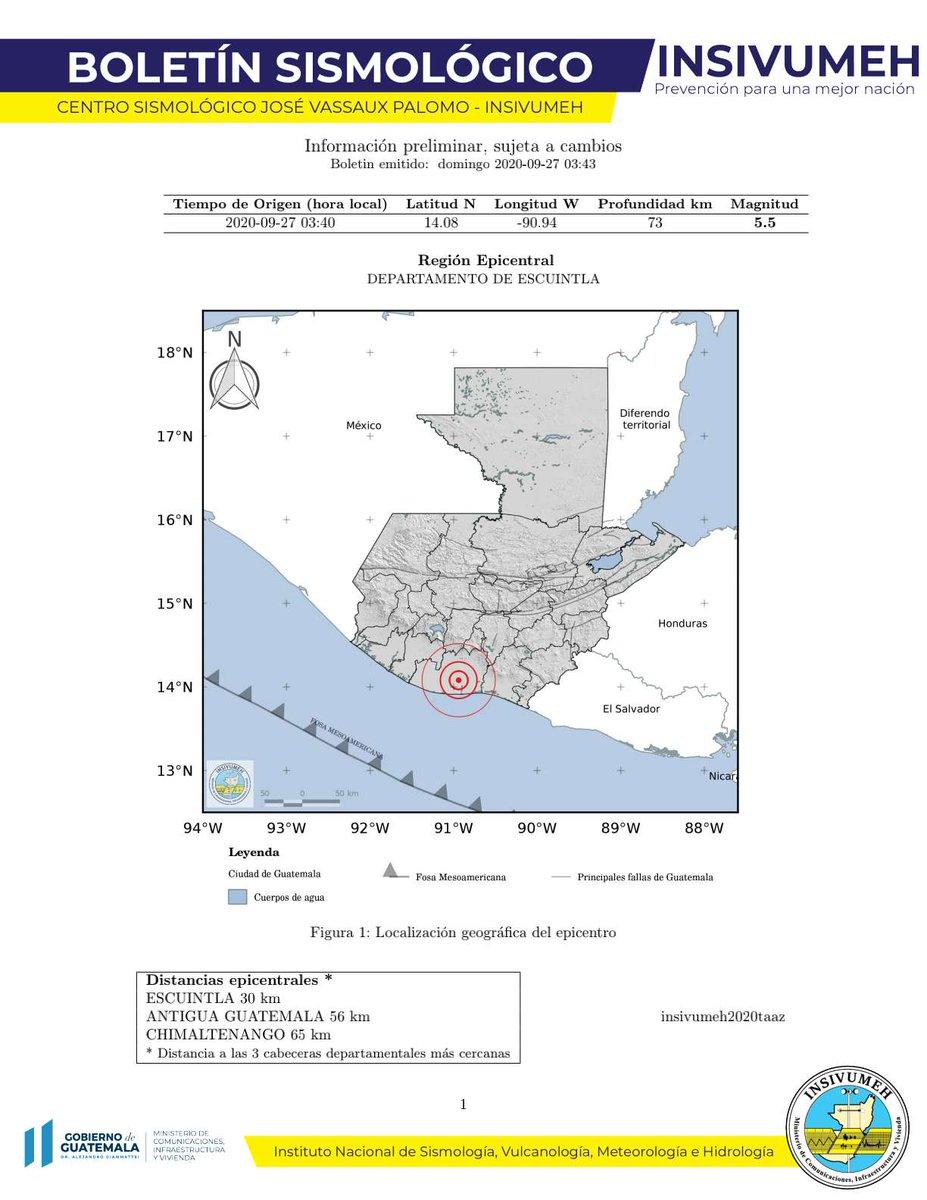 test Twitter Media - A las 3:40 horas se registró un sismo de magnitud 5.5, región epicentral: departamento de Escuintla.Fuente: INSIVUMEH/Vía  Conred https://t.co/rQoDOSazKy