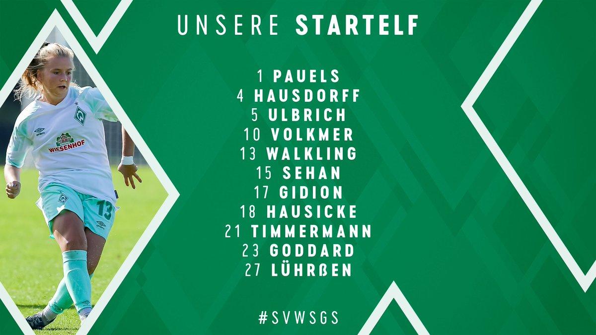Mit dieser Elf gehen wir #svwsgs an. 🤙   ⌛ Witte - Radosavljevic, Wichmann, Walter, Kofler, Tarczynska  💻 https://t.co/s7gPjrjSlt  #Werderfrauen https://t.co/42S8qSgtCb