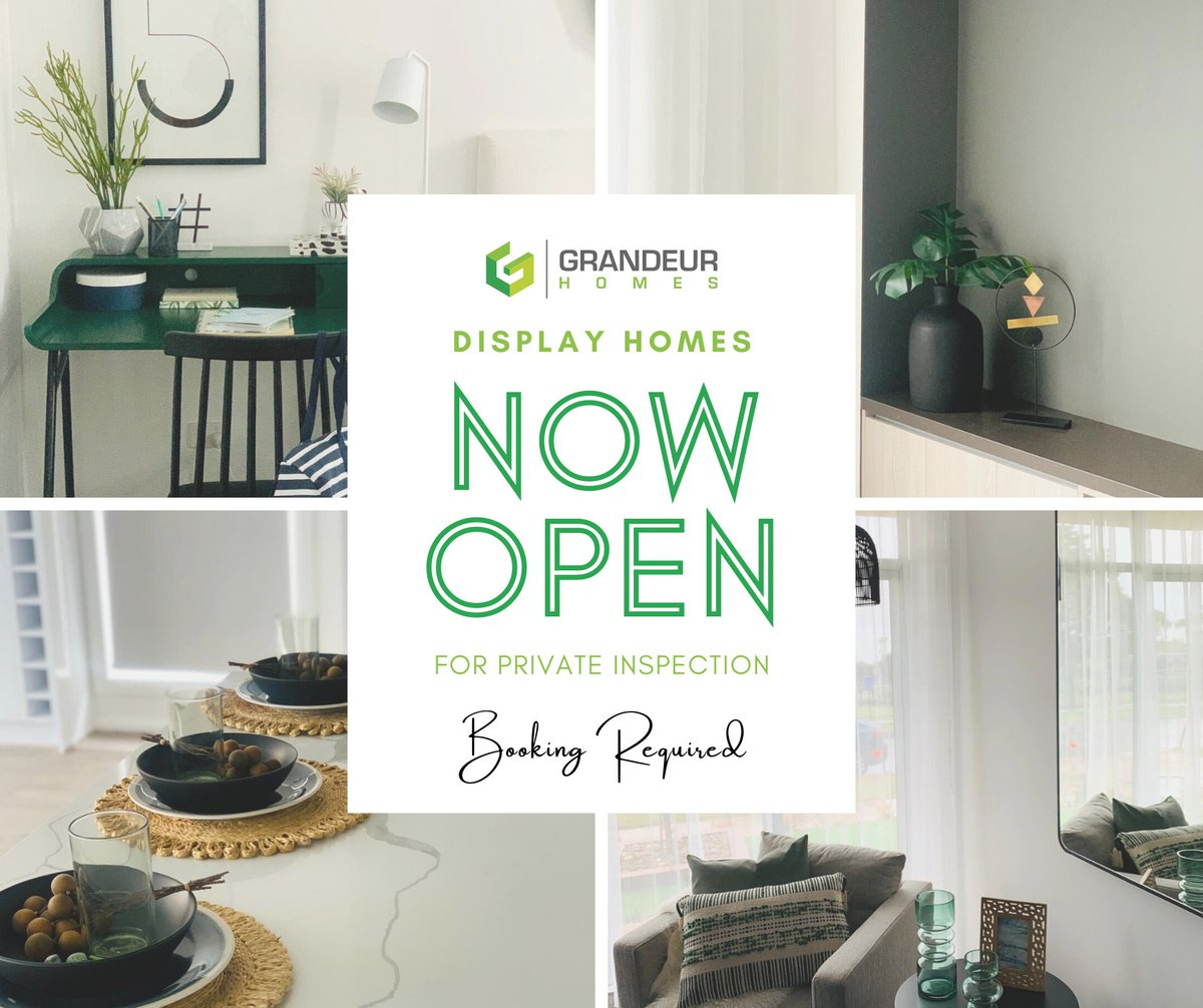 ‼️ COVID19 update: Our display homes are now open for private inspections.  Give us a call on 03 8401 4472 or visit our website to make a booking https://t.co/sSRd5gIFNv  #GrandeurHomes #DisplayHomes #PrivateInspections #COVID19 #Victoria https://t.co/vvCrqBNiiY