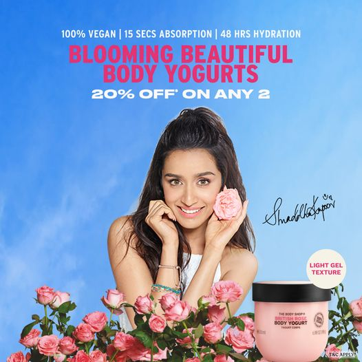 Soak your skin in 48 hrs hydration with The Body Shop collection of body yogurts. Made with nature-inspired ingredients,Get 20%* off when you buy any 2 body yogurts! Visit The Body Shop @Royal Meenakshi Mall #TheBodyShopIndia #TBSInd #BodyYogurt