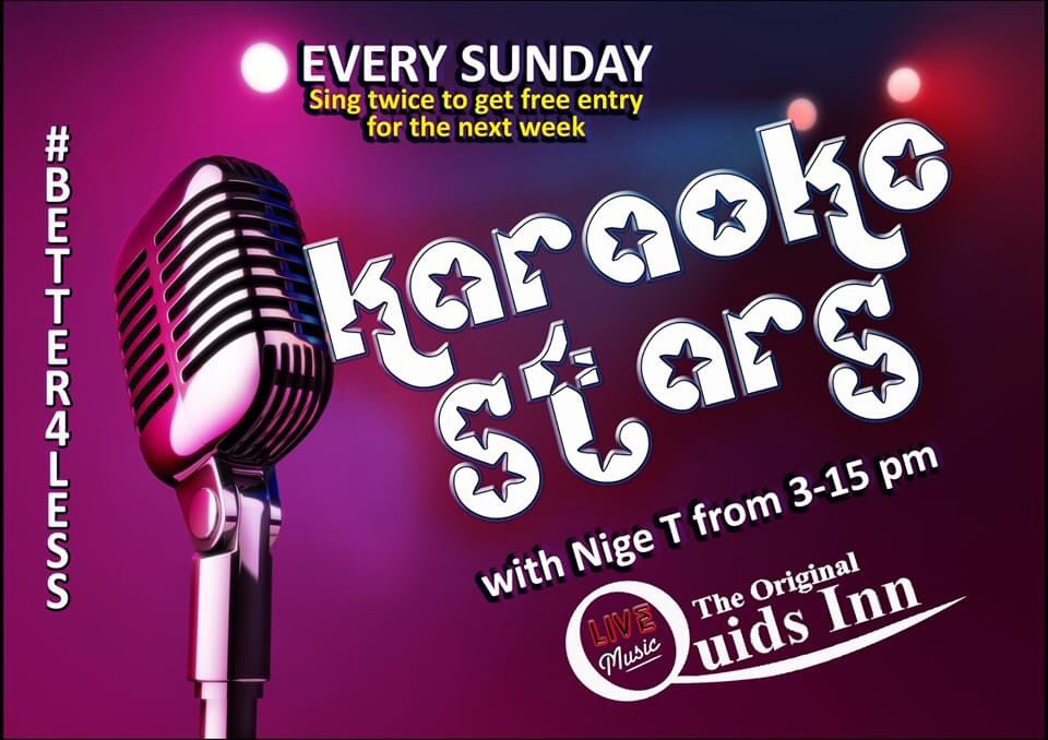 #SundaySessions at The Original Quids Inn.  3-15pm Karaoke Stars with Nigel T with all the usual fun and games, the best afternoon out around.  From 7-30pm Dreadmann presents short sets from great local artists.  #LiveMusicLocal  #KEEPMUSICLIVE  #URtheSTAR https://t.co/hegQNWTVqO