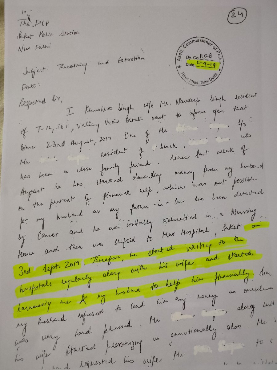 Delhi police at its best...creating false complaint conspiring with criminals....complaint received on 2nd sept of events happening on 3rd 4th &5th sept....shame on delhi police...ACP..#Backdate entry#corruption at its best saket...request CP sir to please give time for meeting.. https://t.co/aUL9oUE1oY