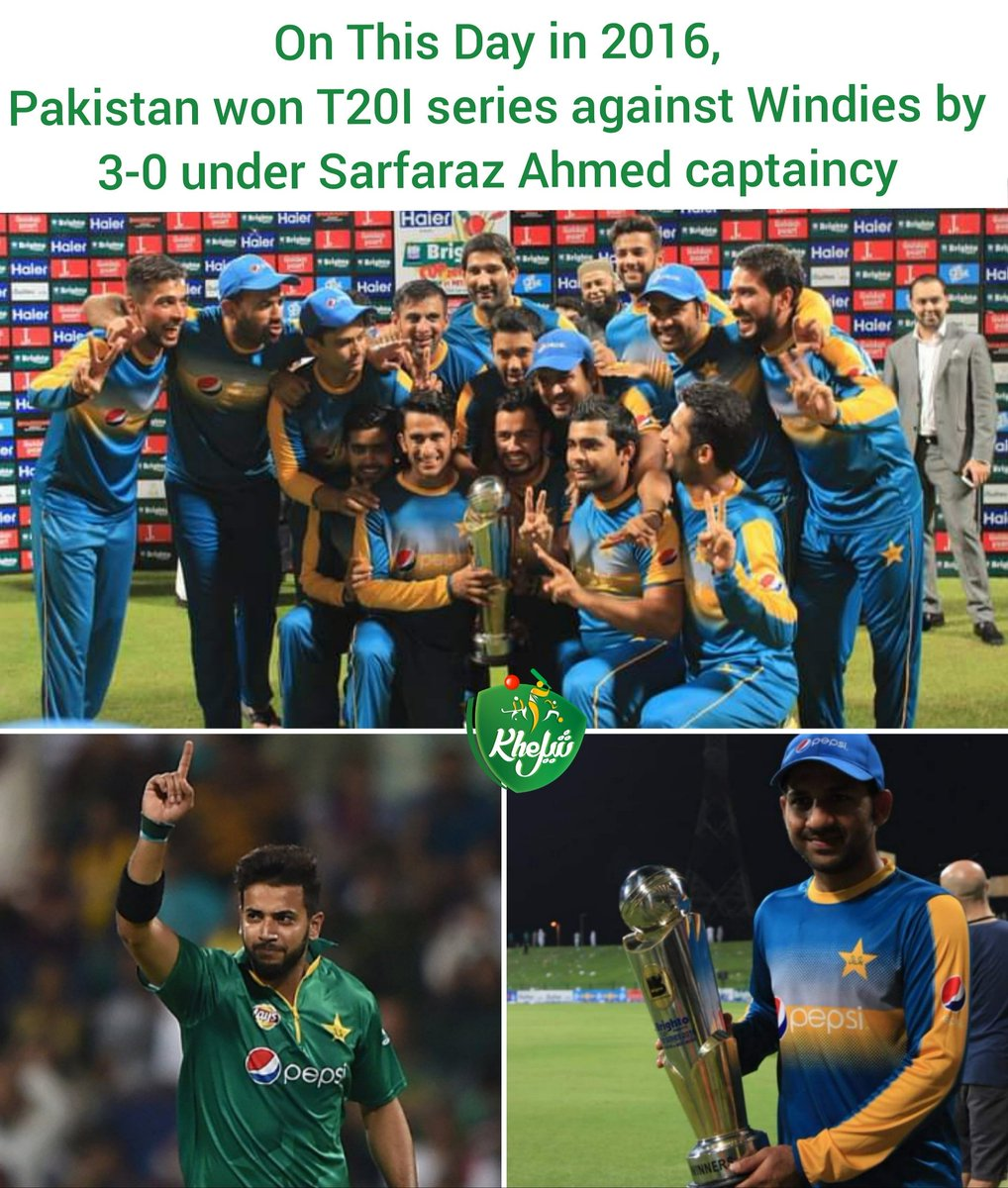 #OnThisDay in 2016, Pakistan beat Windies by 8 wickets at Abu Dhabi & won T20 series 3-0 under @SarfarazA_54 captaincy, @simadwasim took 3/21 in 4 overs & named man of the match along with man of the series.  #PAKvWI #Cricket #Pakistan #Windies #AbuDhabi #ImadWasim #SarfarazAhmed https://t.co/00o5P4R7me