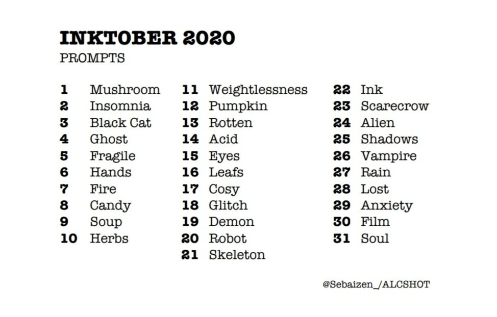I FINALLY managed to write myself my own prompts. These are random words I threw together. No special theme or anything. If you wanna use these prompts I'd be very honored :))  #inktober2020 #inktober #drawingprompts #inktoberprompts #prompts #art #artist #oktober #artchallenge https://t.co/R4tRnh8fF2