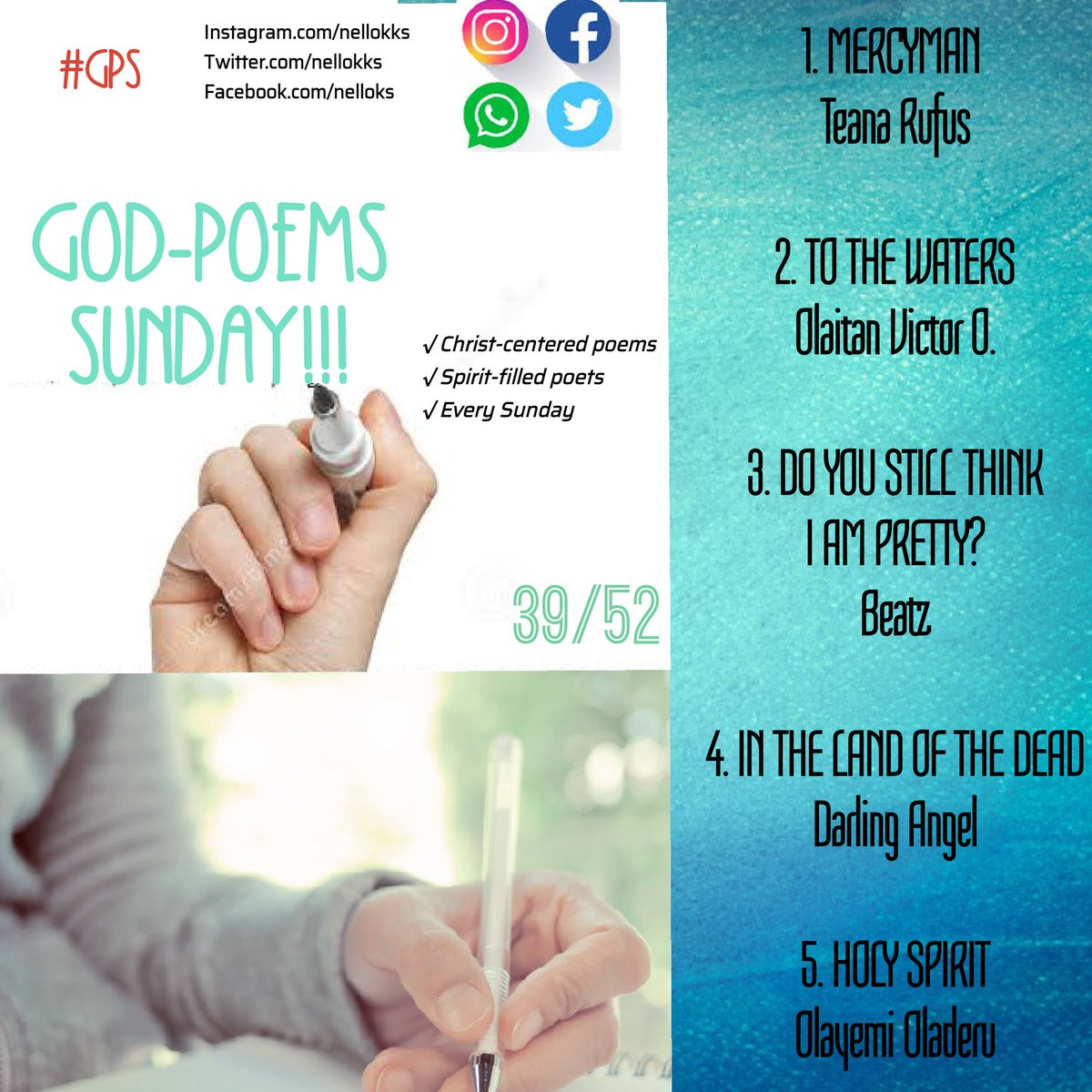 God-Poems Sunday  #GPS  Week 39  #poetry #poems #poets #prose #poetic #wordoflife #Jesus #poetsforJesus #Jesuspoems https://t.co/svypfTqueg