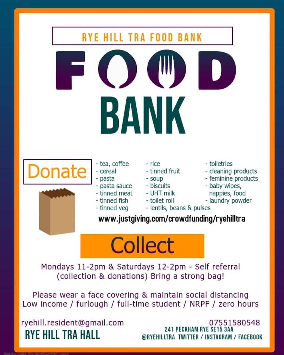 Monday 11-2pm   #RyeHillTRA #NoOneLeftBehind #Peckham #foodbank #peckhamrye https://t.co/T2rWc0k9sW