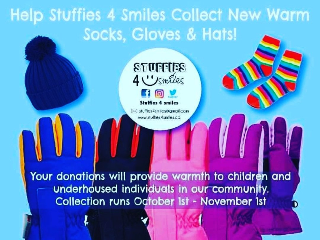 @goodshepherd_to We are collecting new socks, hats and gloves if you like we can also donate to your amazing organization.  Mom is a first responder and also worked in social work which he adores. #stuffies4smiles #milton #halton #smiles https://t.co/4gsq4RBl4r