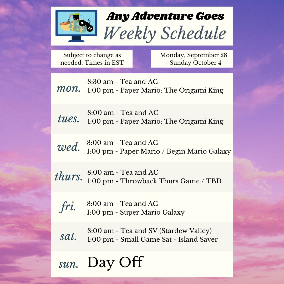 Made my first official schedule! Looks kinda fancy too! Added a couple new event type streams for this week. Hope to see you there!!!   #twitch #twitchstreamer #girlstreamers #animalcrossingnewhorizons #papermario #supermario #stardewvalley #smallgamesaturday #throwbackthursday https://t.co/IUY4BvR2VD
