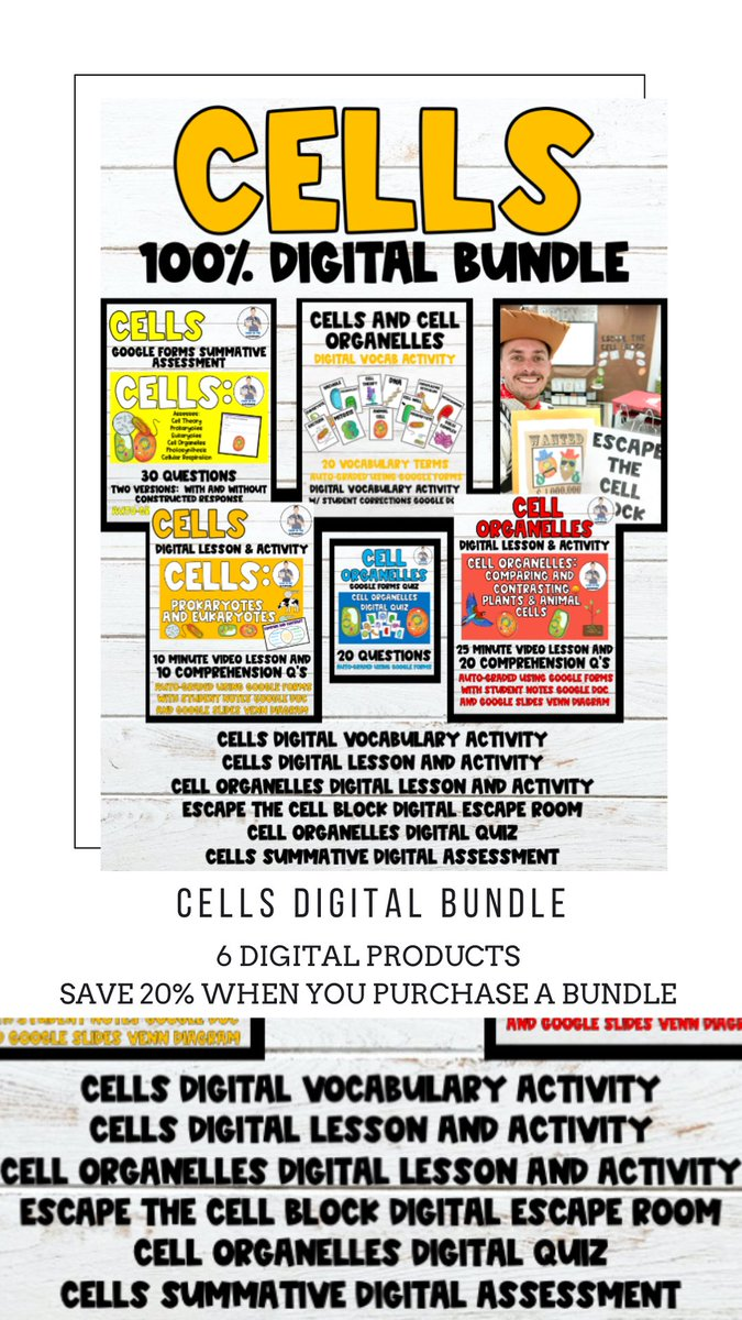 I have a brand new Cells Digital Bundle that's 20% off in my #TPT store. #cells #cellorganelles #teacherspayteachers #cell #plantcell #animalcell #cellorganelle #celltheory #digitallesson #biology #googleforms #cellorganelles #organelles #prokaryote #eukaryote #photosynthesis https://t.co/hiywnJ7rFP