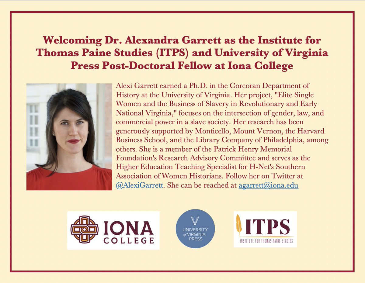 It's been a hectic few (virtual) days at the #ITPS! While we're still processing #ITPSCon2020 and getting ready for our new research portal and podcast series, we have some more big news... we are thrilled to welcome @AlexiGarrett as our @uvapress post-doctoral fellow! https://t.co/SSv99uab9G