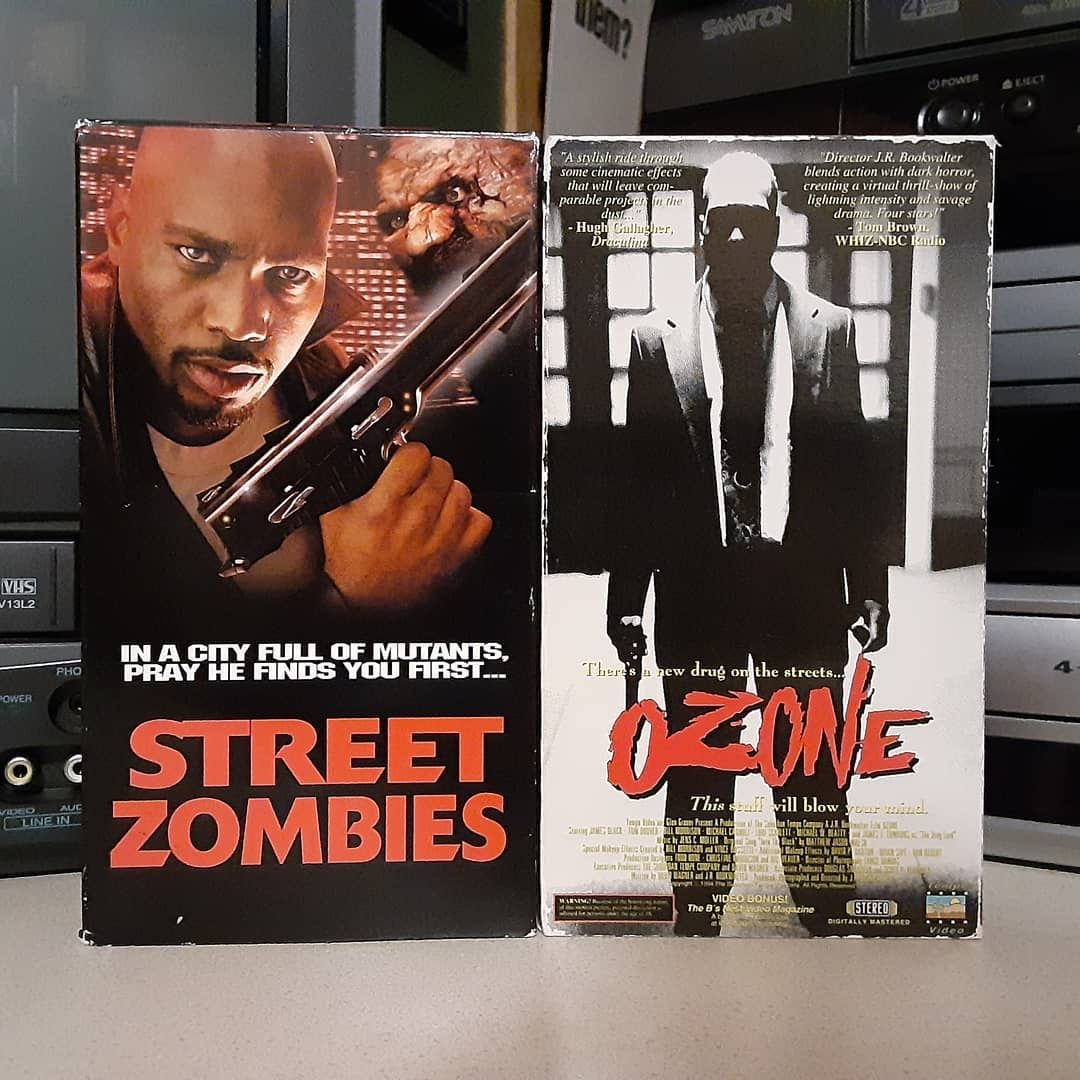 """Reposting @jason.stephenson.nfts: ... """"Same movie different title... Revisiting this absolute fave right now!! . . #ozone aka: #streetzombies #tempeentertainment #wizardvideo #1993 Directed by #jrbookwalter #designerdrugs #mutants #zombies #melting #svhs #shotonvideo #vhshorror"""" https://t.co/HpSLzppzv2"""