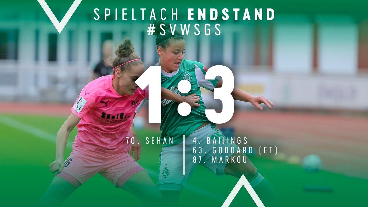 ⏱ 90.+4 Min  Die #Werderfrauen unterliegen der SGS Essen mit 1:3. #Sehan traf für die Grün-Weißen.  ⚽️ 1:3 #svwsgs https://t.co/ORd805x0z6