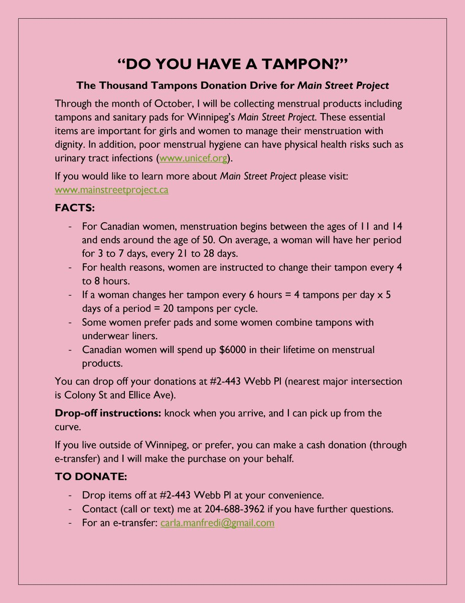 Do you have a tampon? Throughout October I'm collecting menstrual products for @MainStProject; I want to donate 1000 tampons &/or sanitary pads! Please consider donating items or making a $$ donation! See the poster or DM for details. #womenshealth #menstruation #winnipeg #ywg https://t.co/LLhNudFvlw