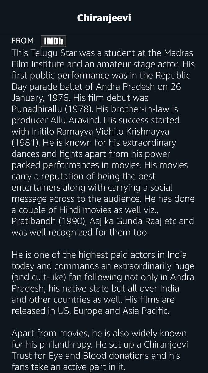 @PrimeVideoIN about @KChiruTweets 👌 #Chiranjeevi #Acharya https://t.co/nRIDWAvePI