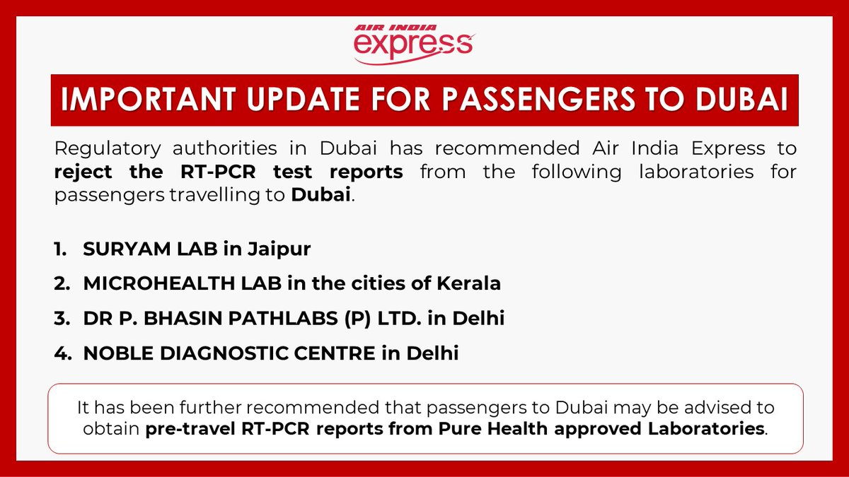 #FlyWithIX : Attention ⚠️  Here's an important update regarding the RT-PCR test report to be carried by passengers traveling to Dubai. https://t.co/eJCcklxM3t