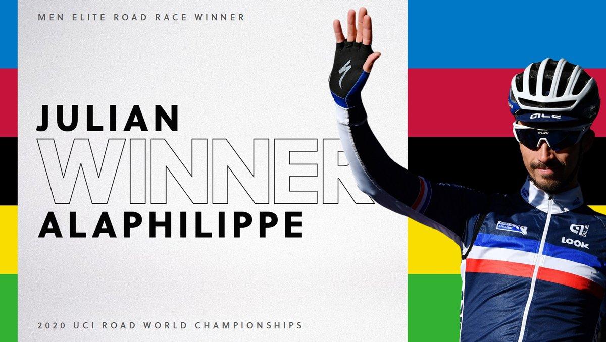 🇫🇷🌈 WORLD CHAMPION 🌈🇫🇷  Julian Alaphilippe wins GOLD for France!  #Imola2020 https://t.co/HqHm7TZSjD