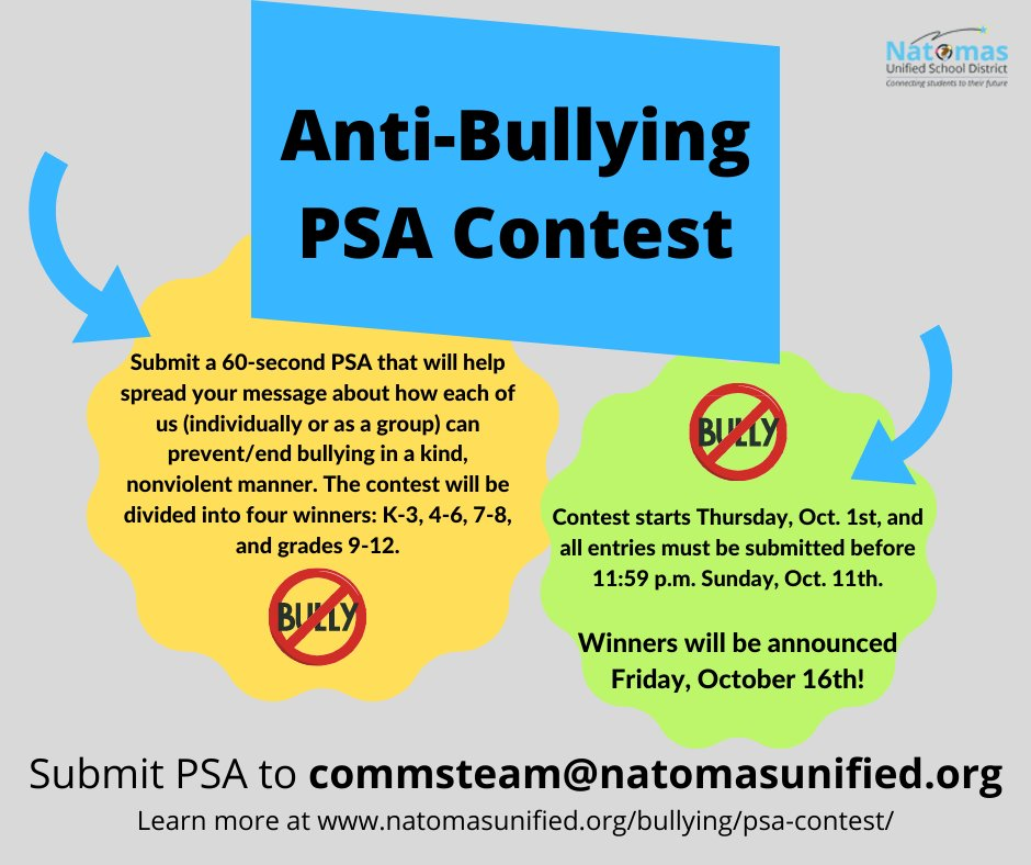 Join us in kicking off Bullying Prevention Awareness Month with a PSA contest! Specific details, including rules and prizes, are available at https://t.co/dzWdiSP1py. #NatomasUnified #SquashBullying https://t.co/wnHa8qFJba