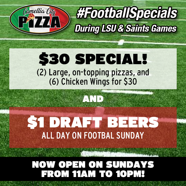 Come WATCH the game with us, and ENJOY our #FootballSpecials this Fall! Our $30 Special, AND $1 Draft Beers all day on Football Sundays! Now Open Sundays (during football season) from 11am to 10pm! Dine-in Only. #CamelliaCityPizza #SlidellPizza #PizzaLover #PizzaTime #PizzaGram https://t.co/n8V7PTONdz
