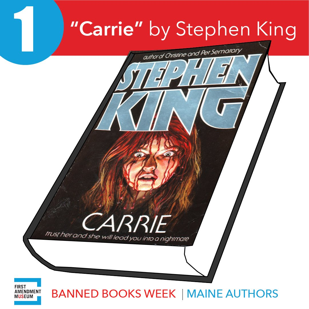 Happy #BannedBooksWeek2020 - to celebrate, we'll be releasing a list of banned books that are connected to #Maineauthors. Our first book is #Carrie by @StephenKing Find out why it's one of the most banned books in schools & how banning a book works at https://t.co/5Y6VMpG87x https://t.co/jDpCLSQXWU
